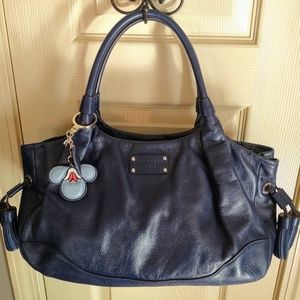 Kate Spade Pebbled Blue Leather Stevie and charm